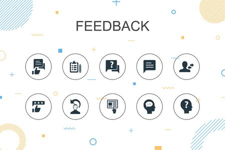 feedback trendy Infographic template. Thin line design with survey, opinion, comment, response icons