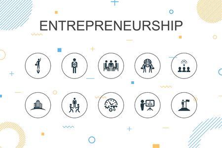 Entrepreneurship trendy Infographic template. Thin line design with Investor, Partnership, Leadership, Team building icons Ilustração