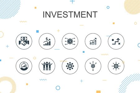 Investment trendy Infographic template. Thin line design with profit, asset, market, success icons