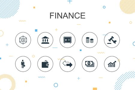 Finance trendy Infographic template. Thin line design with Bank, Money, Graph, Exchange icons