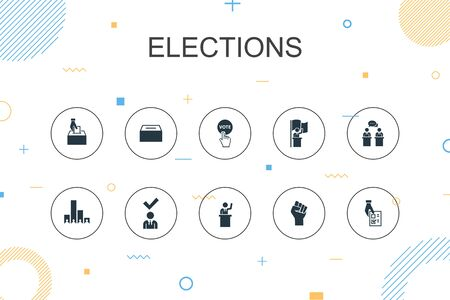 Elections trendy Infographic template. Thin line design with Voting, Ballot box, Candidate, Exit poll icons