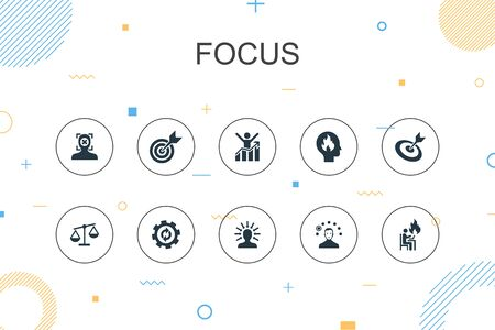 focus trendy Infographic template. Thin line design with target, motivation, integrity, process icons