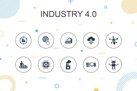 Industry 4.0 trendy Infographic template. Thin line design with internet, automation, manufacturing, computing icons Vettoriali