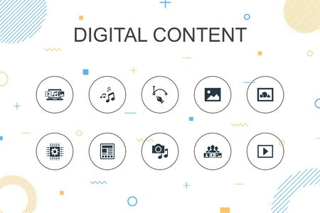 digital content trendy Infographic template. Thin line design with vector image, media, video, social content icons