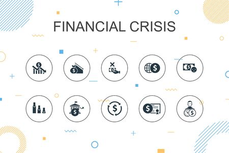 financial crisis trendy Infographic template. Thin line design with budget deficit, Bad loans, Government debt, Refinancing icons