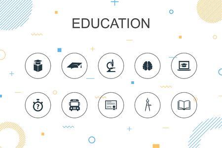 education trendy Infographic template. Thin line design with graduation, microscope, quiz, school bus icons Ilustração