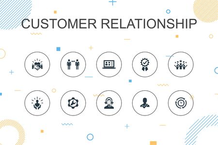 customer relationship trendy Infographic template. Thin line design with communication, service, CRM, customer care icons