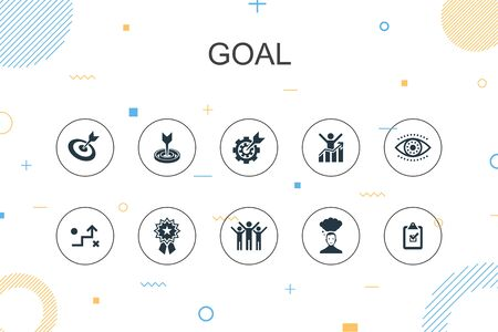 goal trendy Infographic template. Thin line design with target, wish, task, goal setting icons Ilustração