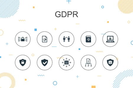 GDPR trendy Infographic template. Thin line design with data, e-Privacy, agreement, protection icons Ilustração