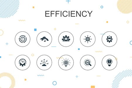 Efficiency trendy Infographic template. Thin line design with time management, speed, multitasking, teamwork icons Ilustração