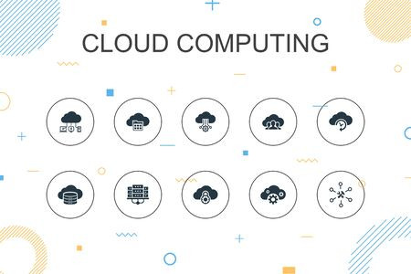 Cloud computing trendy Infographic template. Thin line design with Cloud Backup, data center, SaaS, Service provider icons