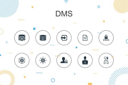 DMS trendy Infographic template. Thin line design with system, management, privacy, password icons