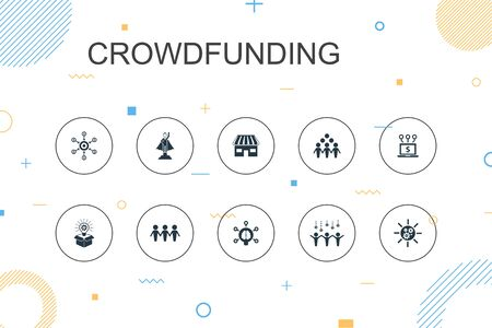 Crowdfunding trendy Infographic template. Thin line design with startup, product launch, funding platform, community icons 向量圖像