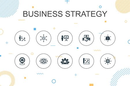 Business strategy trendy Infographic template. Thin line design with planning, business model, vision, development icons
