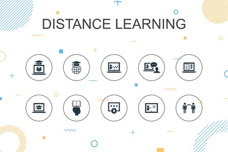 Distance Learning trendy Infographic template. Thin line design with online education, webinar, learning process, video course icons Ilustração