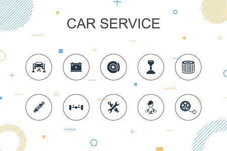 Car service trendy Infographic template. Thin line design with disk brake, suspension, spare parts, Transmission icons Ilustração
