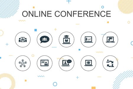 online conference trendy Infographic template. Thin line design with group chat, online learning, webinar, conference call icons