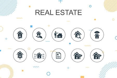 Real Estate trendy Infographic template. Thin line design with Property, Realtor, location, Property for sale icons