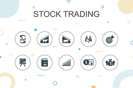 stock trading trendy Infographic template. Thin line design with bull market, bear market, annual report, target icons Illustration