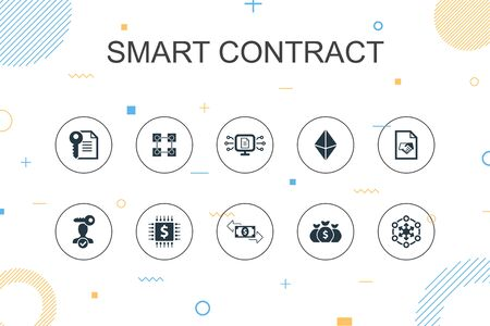 Smart Contract trendy Infographic template. Thin line design with blockchain, transaction, decentralization, fintech icons