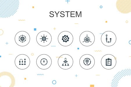 system trendy Infographic template. Thin line design with management, processing, plan, scheme icons