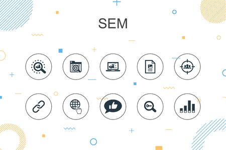 SEM trendy Infographic template. Thin line design with Search engine, Digital marketing, Content, Internet icons