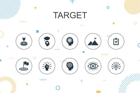 target trendy Infographic template. Thin line design with big idea, task, goal, patience icons  イラスト・ベクター素材