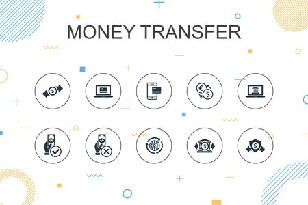 money transfer trendy Infographic template. Thin line design with online payment, bank transfer, secure transaction, approved payment icons Illustration