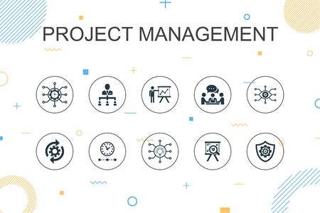 Project management trendy Infographic template. Thin line design with Project presentation, Meeting, workflow, Risk management icons