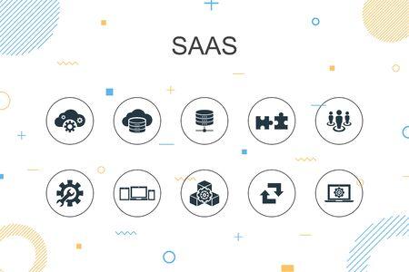 SaaS trendige Infografik-Vorlage. Thin-Line-Design mit Cloud-Speicher, Konfiguration, Software, Datenbanksymbolen Vektorgrafik