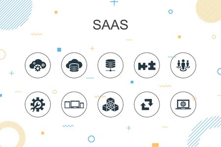 SaaS trendy Infographic template. Thin line design with cloud storage, configuration, software, database icons