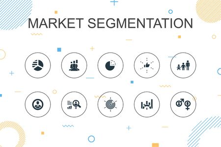 market segmentation trendy Infographic template. Thin line design with demography, segment, Benchmarking, Age group icons 向量圖像