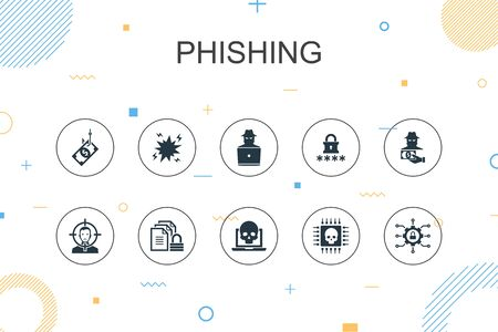 phishing trendy Infographic template. Thin line design with attack, hacker, cyber crime, fraud icons