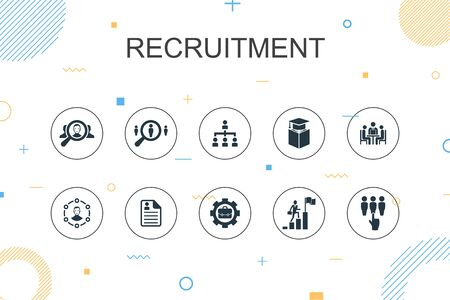 recruitment trendy Infographic template. Thin line design with career, employment, position, experience icons Иллюстрация