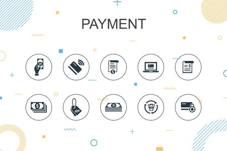payment trendy Infographic template. Thin line design with Invoice, money, bill, discount icons