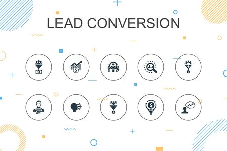 lead conversion trendy Infographic template. Thin line design with sales, analysis, prospect, customer icons