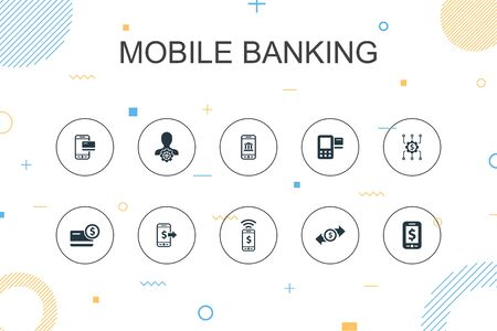 Mobile banking trendy Infographic template. Thin line design with account, banking app, money transfer, Mobile payment icons