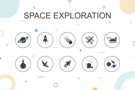 space exploration trendy Infographic template. Thin line design with rocket, spaceship, astronaut, planet icons