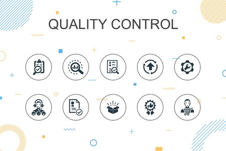 quality control trendy Infographic template. Thin line design with analysis, improvement, service level, excellent icons