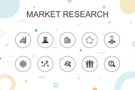 Market research trendy Infographic template. Thin line design with strategy, investigation, survey, customer icons