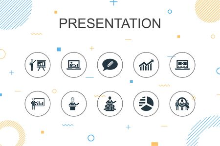 presentation trendy Infographic template. Thin line design with lecturer, topic, business presentation, diagram icons