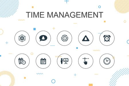 Time Management trendy Infographic template. Thin line design with efficiency, reminder, calendar, planning icons Stock Illustratie