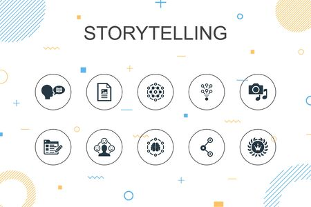 storytelling trendy Infographic template. Thin line design with content, viral, blog, emotion icons Ilustração