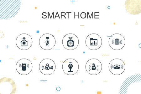 Smart home trendy Infographic template. Thin line design with motion sensor, dashboard, smart assistant, robot vacuum icons Çizim