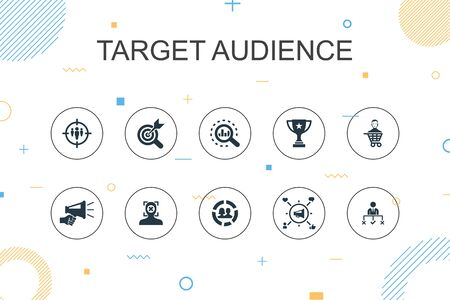 target audience trendy Infographic template. Thin line design with consumer, demographics, niche, promotion icons Ilustrace