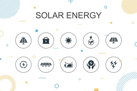 Solar energy trendy Infographic template. Thin line design with Sun, battery, renewable energy, clean energy icons