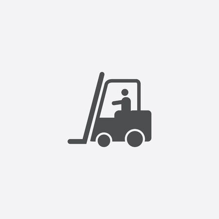 forklift in operation icon, isolated, white background