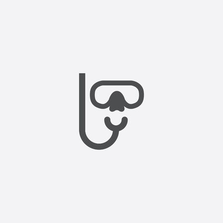 diving mask icon, isolated, white background