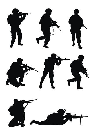 Soldiers silhouettes on white background.