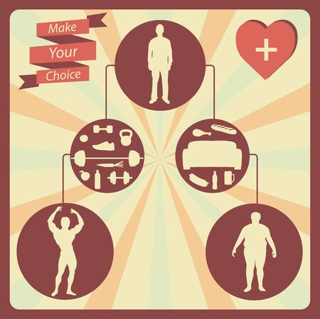 Healthy lifestyle infographic postcard on the brown background.